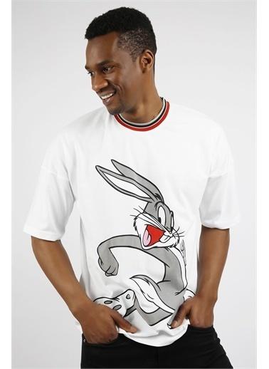 XHAN Beyaz Baskılı Oversize T-Shirt 1Yxe1-44919-01 Beyaz